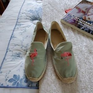 Blue Soludos, with flamingo on top. Slightly worn